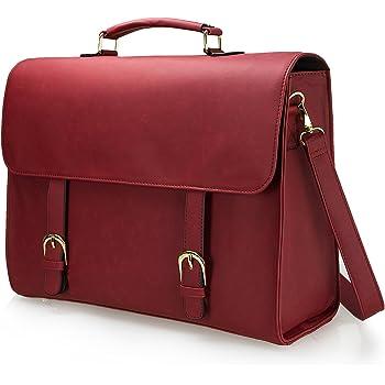 Estarer Women Briefcase 15.6 inch Laptop Bag PU Leather Backpack Satchel Shoulder Bag - Wind Red