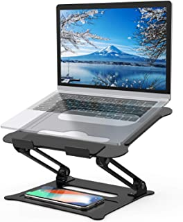 Adjustable Laptop Stand, FYSMY Ergonomic Portable Computer Stand with Heat-Vent to Elevate Laptop, 13 Lbs Heavy Duty Laptop Holder Compatible with MacBook, Air, Pro All Laptops (New-Black)