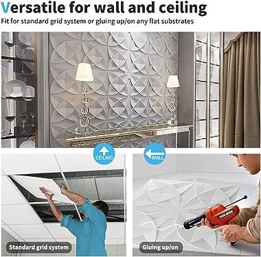 Art3d Decorative Ceiling Tile 2x2 Glue up, Suspended Ceiling Tile Pack of 12pcs White Floral