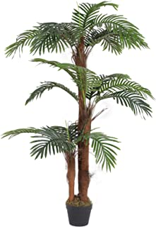 SONGMICS Artificial Palm Tree, 55-Inch Tall Potted Paradise Palm Silk Tree, Indoor Decorative Tree, Fake Houseplants, for Home, Office, Restaurant, Green ULAT102GN