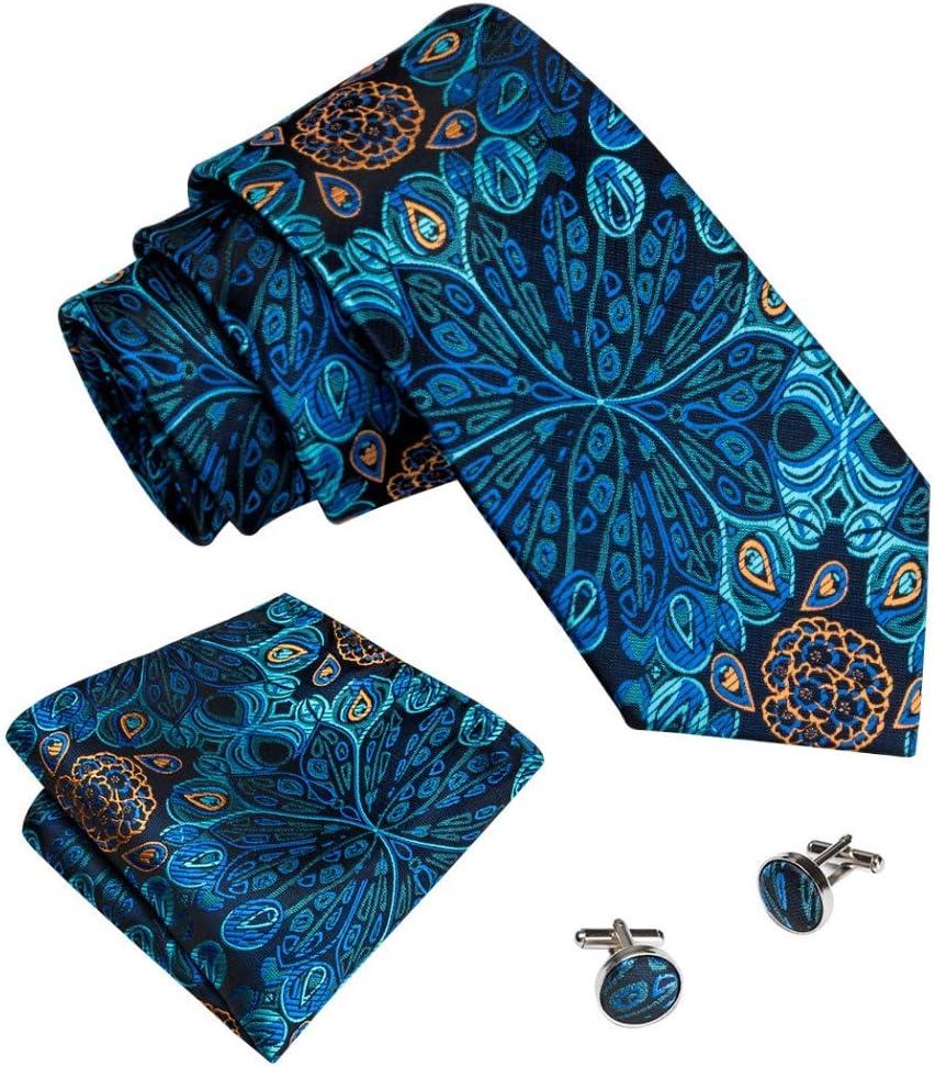 YTGUEVKDH Men Ties Designers Fashion Jacquard Woven Wedding Party Business 3.4'' Blue Color 100% Silk Necktie Handkerchief Tie Set