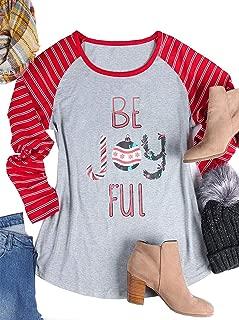 ALLTB Women's Plus Size Be Joyful Christmas T Shirt Long Sleeve Striped Patchwork Snowflake Printed Tops Blouse