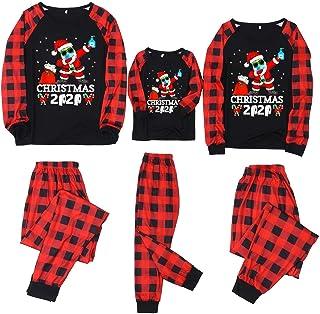 Pijama Navidad Familia - Pijamas Parejas a Juego Hombre Mujer 2 a 12 años Niño Niña - Conjunto Dos Piezas a Cuadros Rojo y Negro Top de Manga Larga + Pantalones Merry Christmas 2020 Merry Christmas