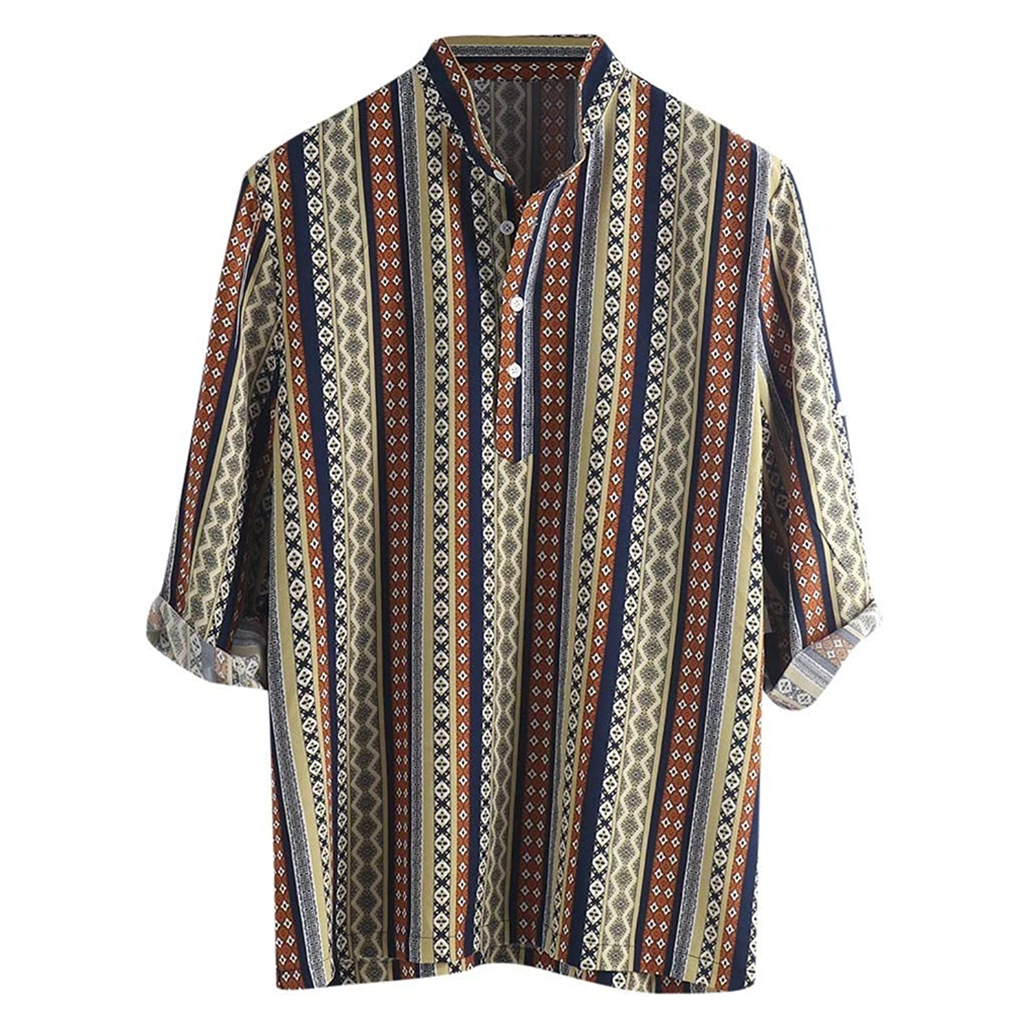 Men Henley Shirts, Beautyfine Ethnic Pattern Printed Half Sleeve Blouse Striped Tops