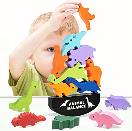 HahaGift Dinosaur Toys for Kids 3-5 Year Old Boys Gifts, Wooden Stacking Toddler Toys for 2 3 4 5 6 Year Old Boys Toys, Montessori Learning Toys Age 2-6 Year Old Boys Christmas & Birthday Gifts!