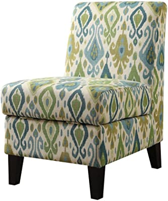 Poundex Bobkona Prissy Accent Chair in Abstract Script White F1586