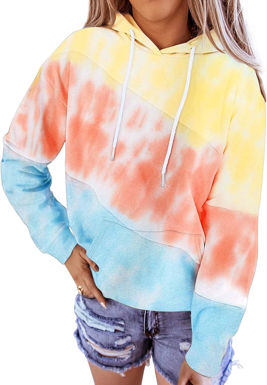 Aleumdr Women's Tie Dye Color Block Hoodie Sweatshirt Casual Loose Long Sleeve Pullover Hooded Tops