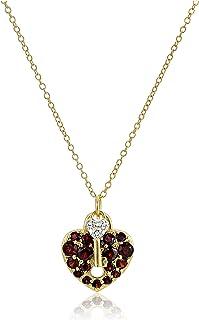 Amazon Collection イエローゴールドメッキスターリングシルバーネックレス ガーネットとダイヤモンドがアクセントのハートロック&キーペンダント付