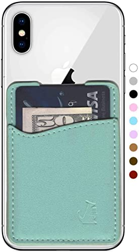 Premium Leather Phone Card Holder Stick On Wallet for iPhone and Android Smartphones (Spearmint Leather)