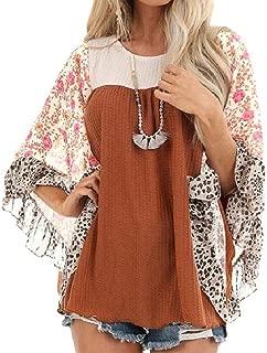 UUYUK Women Casual Batwing Sleeve Loose Fit Floral Print Crewneck T-Shirt