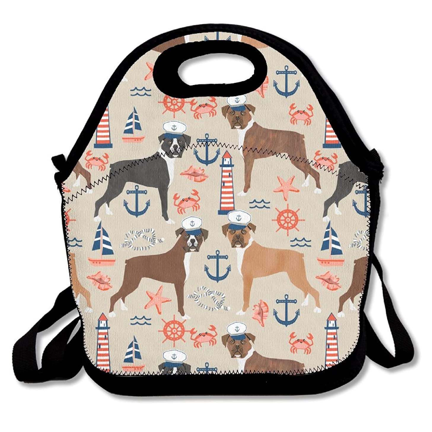 Nautical Anchor Tropical Boxer Dogs Insulated Lunch Bag Picnic Lunch Tote For Work, Picnic, Travelling