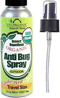 US Organic Mosquito Repellent Anti Bug Outdoor Pump Sprays, 4 Ounces Travel Size, with USDA Certification and Cruelty Free, Proven Results by Lab Testing (1, 2 fl. Ounces)