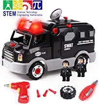 GILOBABY Take Apart Police Car with 4 Policemen, STEM Toy DIY Car with Drill Tool, Lights and Sounds, 32 Piece, Build Your Own Car for Boys & Girls Age 3+