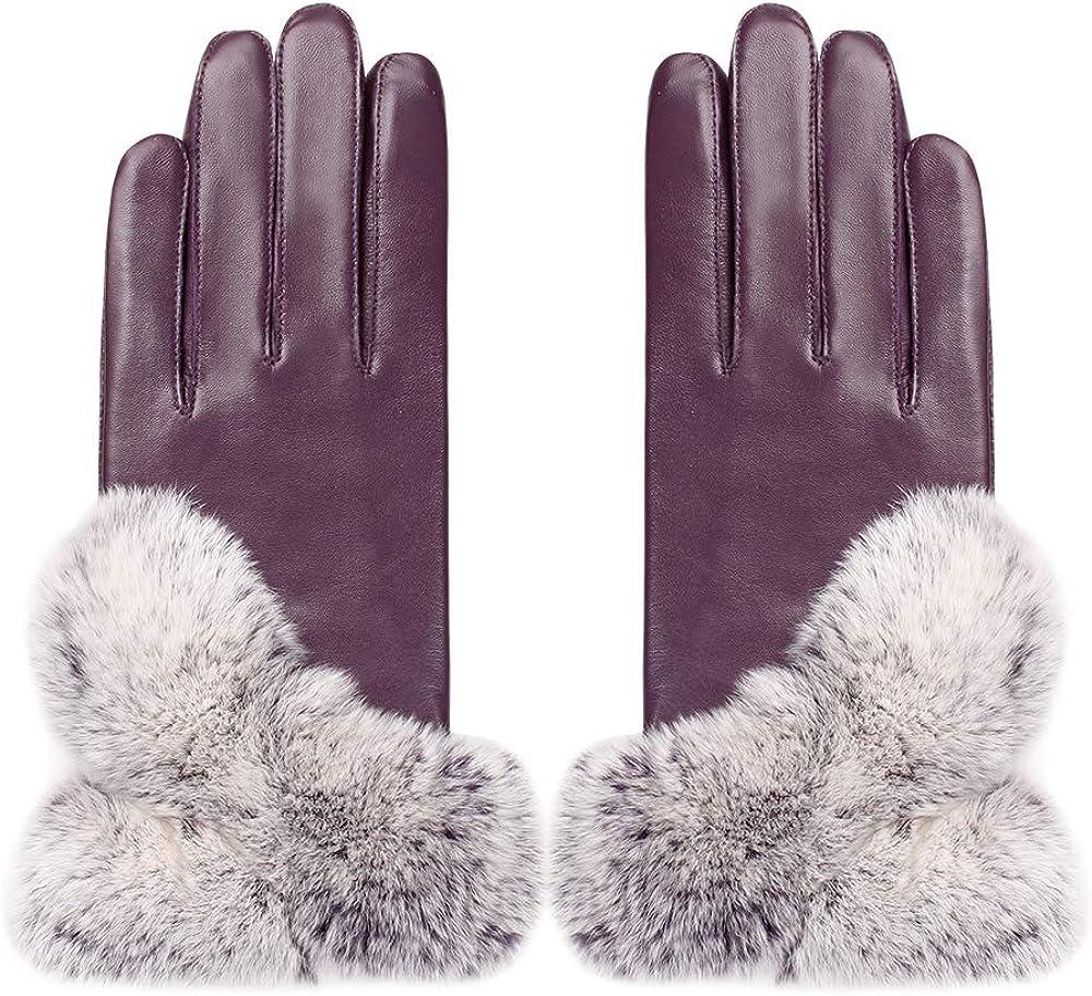 Mandy's Women's Genuine Nappa Leather Rex Rabbit Fur Gloves (Large(7.5