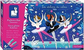 Janod - Coffret Paillettes Fluo Danseuses - Les Ateliers du Calme - Kit Loisir Créatif Enfant - Apprentissage Motricité Fi...