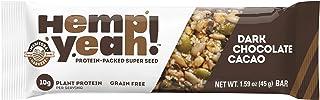 Manitoba Harvest Hemp Yeah! Bars, Dark Chocolate Cacao (12 Bars), 10g Plant Protein, Grain Free, Gluten Free, 6g Omegas 3&...