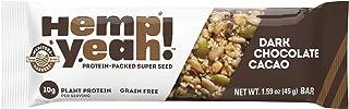 Manitoba Harvest Hemp Yeah! Bars, Dark Chocolate Cacao (12 Bars), 10g Plant Protein, Grain Free, Gluten Free, 6g Omegas 3&6, Healthy Granola Bar Alternative