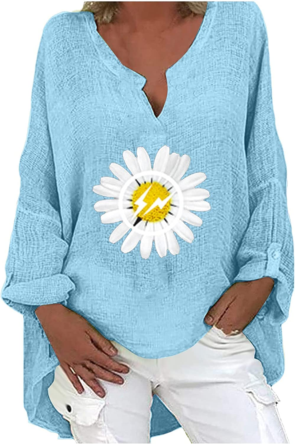 TIMIFIS Autumn Shirts for Women Plus Size Long Sleeve Blouses Loose Pullover Sweatshirts Fashion Cotton Linen Shirts