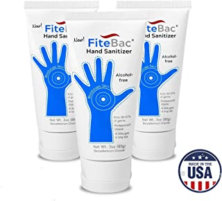 3 Pack Alcohol Free Hand Sanitizer Germicidal Gel-No Drying Foam- Advanced Moisturizers-Active Ingredients Stay on Skin-3oz Tube by fiteBac