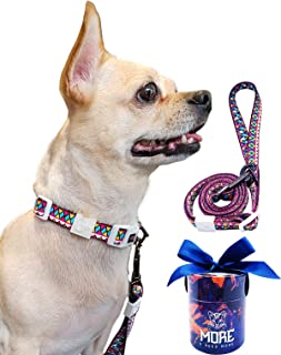 More Adjustable Collar and Leash Set with Gift Box for Dogs and Puppy Under 18lb (Neck 9