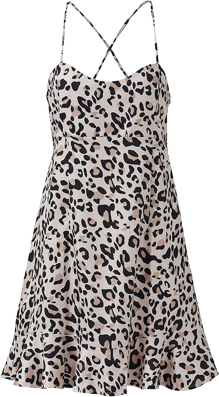 U/D Women's Summer Dresses Spaghetti Strap Backless V Neck Sleeveless Casual Mini Leopard Print Dress