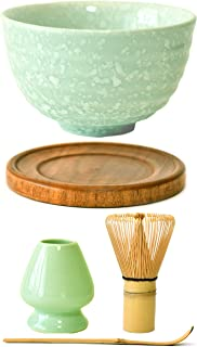 Premium Japanese Ceremonial Matcha Green Tea Chawan Bowl Full Kit Matcha Whisk Set with Accessories and Tools Bamboo Chasen Matcha Whisk Scoop and Holder (Mint Snow)