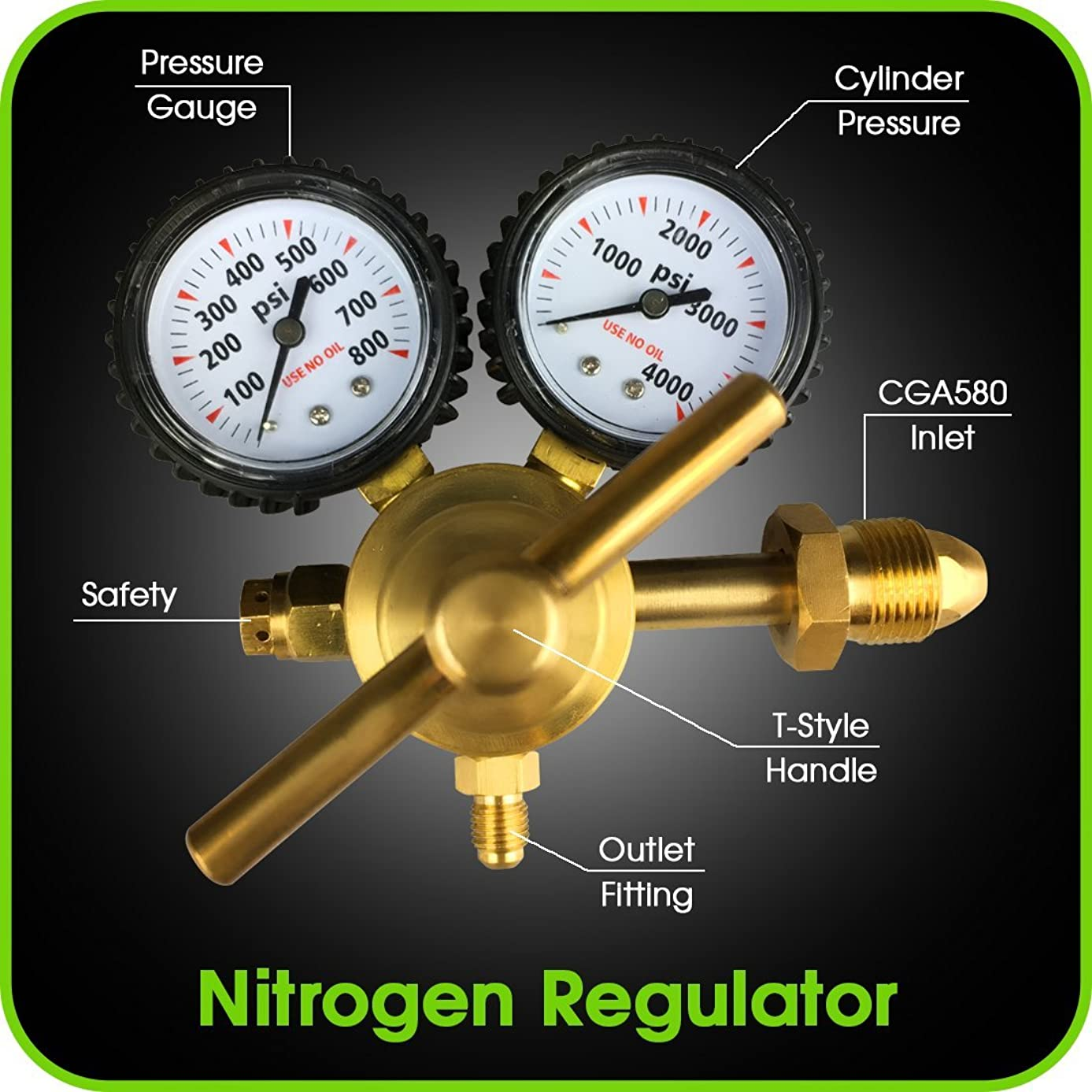 MANATEE Nitrogen Regulator with 0-800 PSI Delivery Pressure, CGA580 Inlet Connection and 1/4-Inch Male Flare Outlet Connection Durable Brass Accurate and Dependable - HVAC Purging Solid Brass
