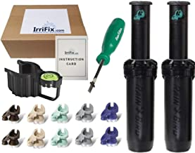 IrriFix Box Set - 2 Pack Rain Bird Falcon 6504PC Seal-A-Matic (SAM) Part Circle Sprinkler Head Kit - Including 5 Nozzles for Each 6504 Head, Leveling Hold Up Tool, Rotortool, and Instruction Card
