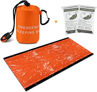 Emergency Sleeping Bag, Large Thermal Mylar Foil Space Blanket Heat Sheets for Outdoors, Hiking, Survival, Marathons or First Aid
