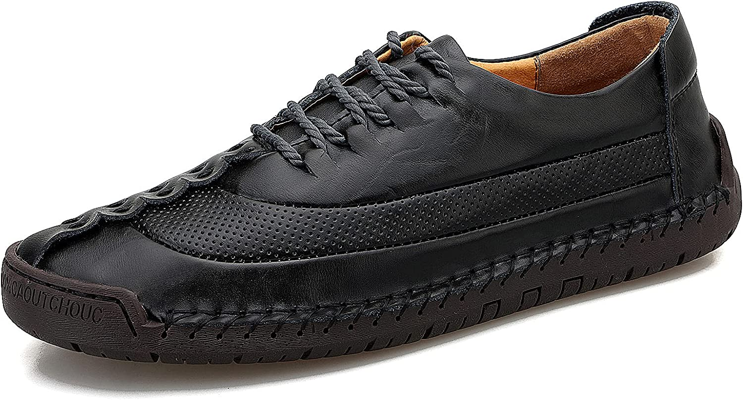 Govicta Men's Casual Loafers Shoes Lace Up Leather Moccasins Shoes Classic Oxford Dress Business Office Work Slip On Loafer Shoes Barefoot Walking Shoes for Men, Size 6.5-12US