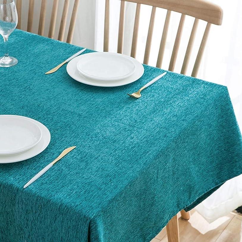 不確実家庭お互いテーブルクロス 綿麻生地 長方形 140×200cm 水色 テーブルカバー 無地 簡約 テーブルマット 防塵 耐熱 天然素材 洗える 雰囲気 家庭用 店舗用 お祝い