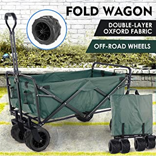 """Collapsible Outdoor Utility Wagon, Heavy Duty Folding Garden Portable Hand Cart, with 8"""" All-Terrain Wheels and Drink Hold..."""