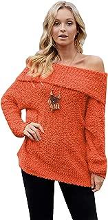 Chirps Women's Off Shoulder Sweater Bat Long Sleeve Solid Color Loose Oversized Pullover Knit Jumper Top