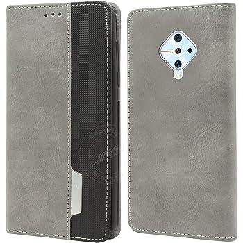Jkobi Elegant Series Leather-Fiber Flip Case Cover for Vivo S1 Pro -Grey