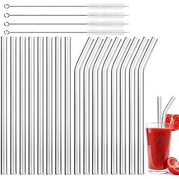 MELLIEX 16 Pcs Pajitas Reutilizables de Vidrio, Eco Pajitas para Licuado de Cóctel y Bebidas Calientes con 4 Cepillos de Limpieza