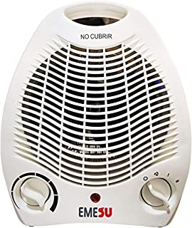 Calefactor ES-2003 1000/2000W Branco Tres Funciones Ajustables, con Dos Niveles de Calor y Ventilador Modo Ventilador de Aire frío,para Hogar y Oficina,Protección del Sobrecalentamiento
