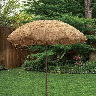 Bayside21 Tiki Umbrella 6.5' Thatch Patio Umbrella Tropical Palapa Raffia Tiki Hut Hawaiian Hula Beach Umbrella with tilt (6.5ft, Natural)