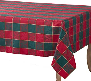 Occasion Gallery Red & Green Christmas Holiday Plaid Designed Printed Holly Tablecloth, 70