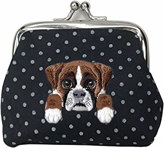[ BOXER DOG ] Cute Embroidered Puppy Dog Buckle Coin Purse Wallet