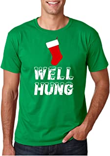 CBTWear Well Hung - Funny Inappropriate Christmas Office Party - Ugly Xmas Tee - Funny Stocking Men T-Shirts
