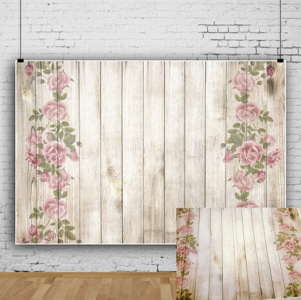 Max 64% OFF Laeacco Beautiful Flowers Painting On 90cm Mail order Backdrops Plank Wood
