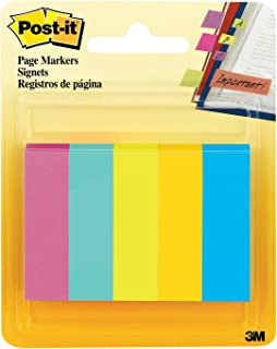 Post-it Page Markers, 1/2 in x 1 3/4 in, Assorted Fluorescent Colors, 50 Sheets/Pad, 5 Pads/Pack, 4-PACK