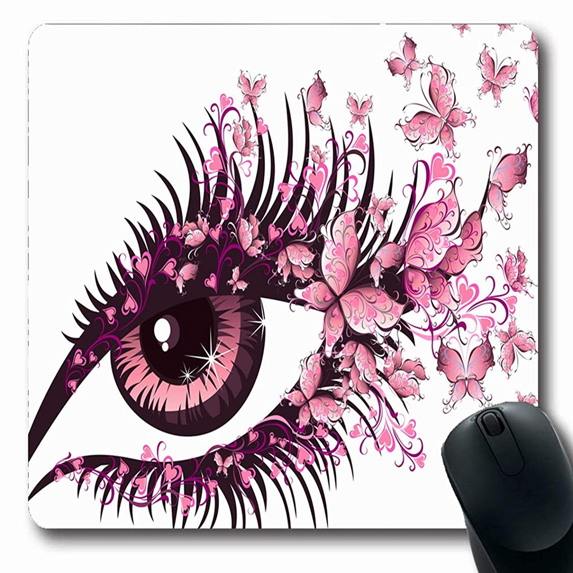 Ahawoso Mousepad for Computer Notebook Pink Butterfly Eye Butterflies Abstract Sexy Girl View Vision Design Eyebrow Oblong Shape 7.9 x 9.5 Inches Non-Slip Gaming Mouse Pad av54739150566874