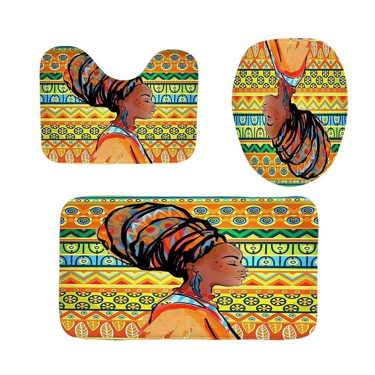 反対する高架ヒョウDaeum 4pcsアフリカ系アメリカ人風呂セット:フック付きPCシャワーカーテンと6pcsフランネルファブリックマット(バスルームマット+台座敷物+便座カバー)