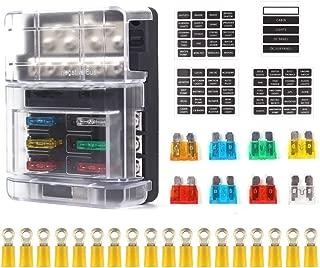 Xislet 6-Circ Waterprrof ST Blade Fuse Block with 12P Negative Bus Bar for UTV Polaris RS1 RZR Ranger General Can Am X3 Maverick Marine Fuse Box with Cover & Neg (Screw Terminal)