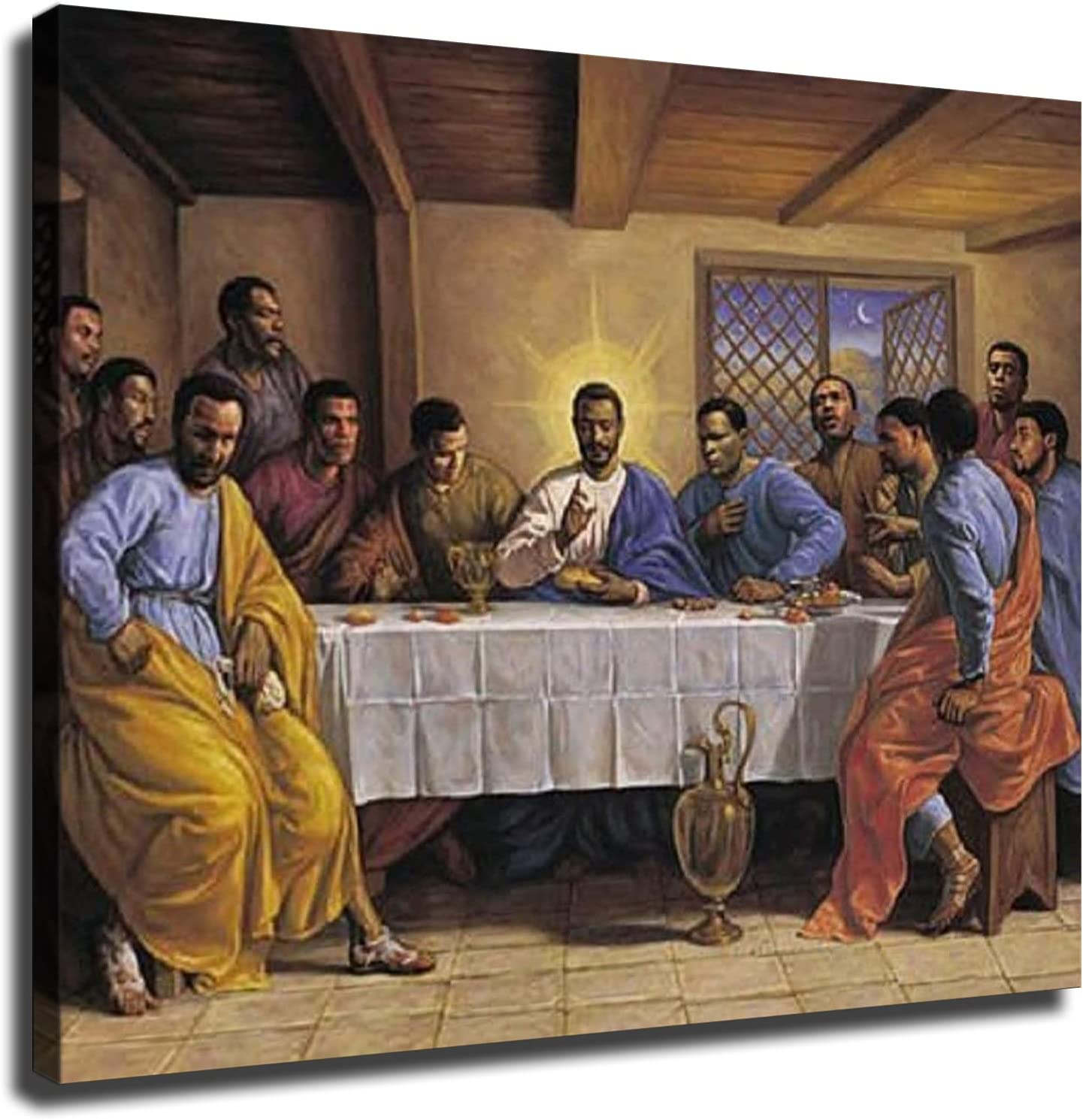 Last Supper By Sarah Jenkins African American Religious Poster Canvas Print Wall Art Modern Classroom Kitchen Bedroom Room Aesthetics Decoration Boys Women Gift Unframed and Framed (20×27inch-No Framed)