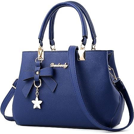 VARLIVOO Elegant Damen Handtasche Bogenknoten Ornament Schultertasche Frauen Umhängetasche Taschen Shopper Wasserdicht PU Crossbody Bag Damen Navy Blau