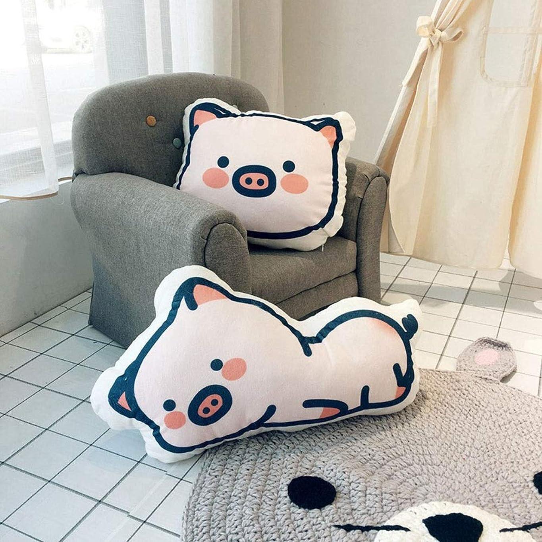 傾向があるファランクスブラウズMayalina ピンクの歯ノックかわいいスエード太った豚頭枕両面デジタル印刷漫画クッション付きコア (色 : Pig head, Size : 45cm*55cm)