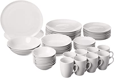 10 Strawberry Street 52 Pc Coupe Dinnerware Set, Service for 8, White