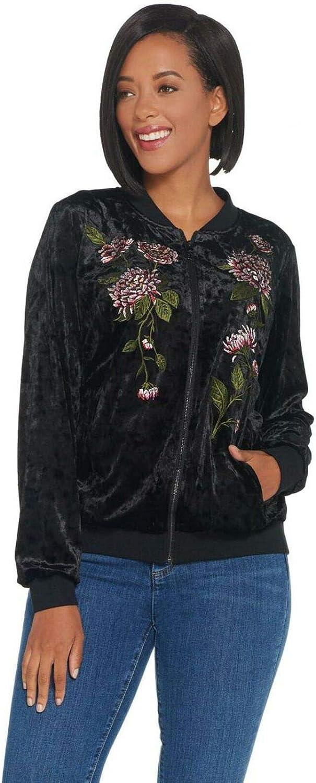 Belle by Limited time for free shipping Kim Gravel Women's Velvet Ranking TOP16 Panne Bomber Jack Embroidered